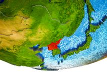 North Korea on 3D Earth. With divided countries and watery oceans. 3D illustration stock photo