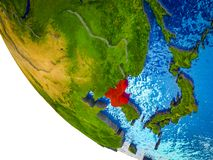 North Korea on 3D Earth. North Korea on model of Earth with country borders and blue oceans with waves. 3D illustration royalty free illustration