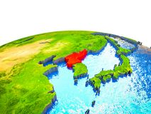 North Korea on 3D Earth. With visible countries and blue oceans with waves. 3D illustration vector illustration