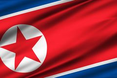 North korea flag illustration. North korea waving and closeup flag illustration. Perfect for background or texture purposes vector illustration