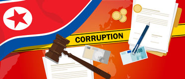 North Korea or Democratic People s Republic of Korea corruption money bribery financial law contract police line for a. Case scandal government official vector Royalty Free Stock Images