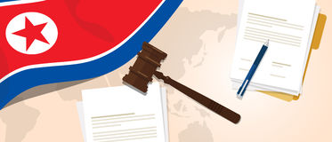 North Korea or Democratic People s Republic of Korea law constitution legal judgment justice legislation trial concept. Using flag gavel paper and pen vector royalty free illustration
