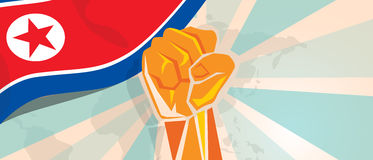 North Korea or Democratic People s Republic of Korea propaganda poster fight and protest independence struggle rebellion. Show symbolic strength with hand fist Royalty Free Stock Photography