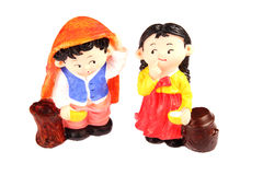 North Korea dolls. On white. DPRK travel souvenirs Royalty Free Stock Photo