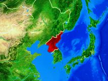 North Korea on Earth with borders. North Korea from space on model of planet Earth with country borders and very detailed planet surface. 3D illustration royalty free illustration