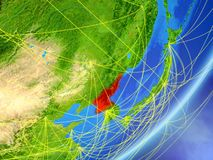 North Korea on Earth with network. North Korea on model of planet Earth with network at night. Concept of new technology, communication and travel. 3D stock illustration