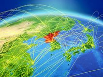 North Korea on Earth with network. North Korea on planet Earth with international network representing communication, travel and connections. 3D illustration stock photo