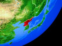 North Korea on Earth from space. North Korea on planet Earth with country borders and highly detailed planet surface. 3D illustration. Elements of this image royalty free stock image