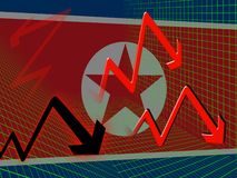 North Korea Economy Failing Market 3d Illustration royalty free stock photo
