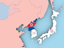 Map of North Korea with flag on globe. North Korea with embedded flag. 3D illustration stock illustration