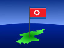 North Korea with flag Stock Image