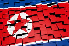 North Korea flag background formed from digital mosaic tiles, 3D rendering. Modern 3D rendered concept of numerous square tiles sliding together to form the Royalty Free Stock Photos