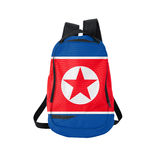 North Korea flag backpack isolated on white Royalty Free Stock Photo