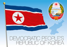 North Korea flag and coat of arms Stock Images