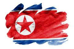 North Korea flag is depicted in liquid watercolor style isolated on white background. Careless paint shading with image of national flag. Independence Day stock illustration