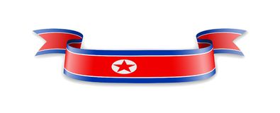 North Korea flag in the form of wave ribbon. Vector illustration stock illustration