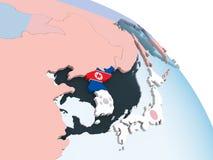 North Korea with flag on globe. North Korea on bright political globe with embedded flag. 3D illustration stock illustration