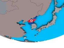 North Korea with flag on globe. North Korea with embedded national flag on simple political 3D globe. 3D illustration vector illustration