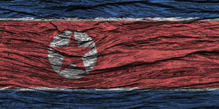 North korea flag with high detail of old wooden background. 3D illustration Stock Image