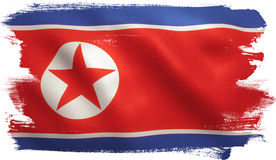 North Korea Flag. North Korean flag with fabric texture. 3D illustration royalty free illustration