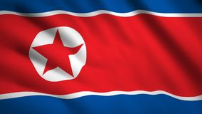 North Korea flag Motion video waving in wind. Flag Closeup 1080p HD  footage vector illustration