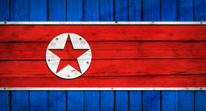 North Korea flag painted on wooden boards Stock Photos