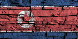 North korea flag painting on high detail of old brick wall Royalty Free Stock Images