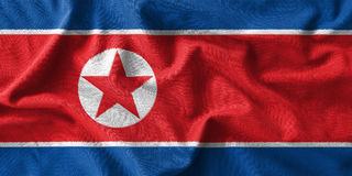 North korea flag painting on high detail of wave cotton fabrics. 3D illustration Stock Images