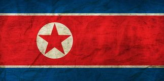 North Korea Flag on Paper. Flag on an old Paper Texture Stock Photography