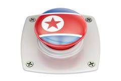 North Korea flag push button Stock Photo