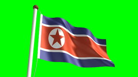 North Korea flag stock footage