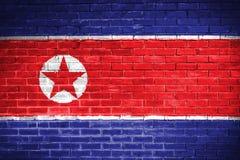 North korea flag,wall texture background Royalty Free Stock Photos