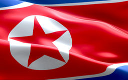 North korea flag waving texture fabric background, crisis of north and south korea, korean risk nuclear bomb war Royalty Free Stock Photography