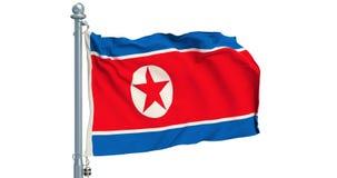 North Korea flag waving on white background, animation. 3D rendering stock illustration
