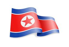 North Korea flag in the wind. Flag on white vector illustration. North Korea flag in the wind. Flag on white background vector illustration stock illustration