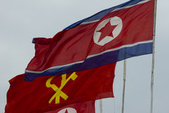 North Korea flags in Pyongyang Stock Photos