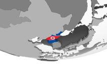 North Korea with flag on globe. North Korea on gray political globe with embedded flag. 3D illustration vector illustration