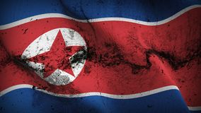 North Korea grunge dirty flag waving on wind. Democratic People`s Republic of Korea background fullscreen grease flag blowing on wind. Realistic filth fabric Stock Images