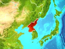 Map of North Korea. North Korea highlighted in red from Earth's orbit. 3D illustration. Elements of this image furnished by NASA vector illustration