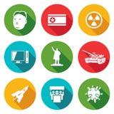 North Korea Icons Set. Vector Illustration Stock Photo
