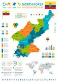North Korea - infographic map and flag - Detailed Vector Illustration. North Korea infographic map and flag - High Detailed Vector Illustration stock illustration