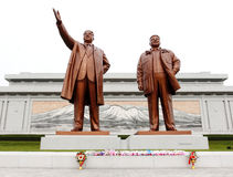 North Korea Kim Il Sung Square. Here is Pyongyang's most important landmarks,the bronze statue of Kim Il Sung and Kim Jong Il erected here,North Korean stock photography