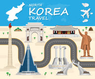 North korea Landmark Global Travel And Journey Infographic backg. Round. Vector Design Template.used for your advertisement, book, banner, template, travel Stock Photo
