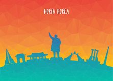 North Korea Landmark Global Travel And Journey paper background. Vector Design Template.used for your advertisement, book, banner, template, travel business or Stock Image