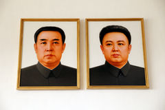 North korea leaders. Portraits of North Korean leader.they are Kim Il Sung and Kim Jong-il .(April in 2010 Royalty Free Stock Images