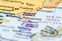 North Korea on a map. Close up of a world map with North Korea in focus stock images