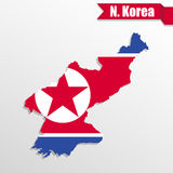 North Korea map with flag inside and ribbon Stock Photos