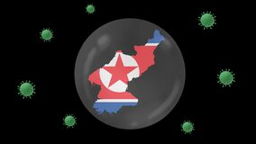 North Korea map inside with flag in crystal ball protect from corona or covid-19 virus, lock down North Korea ,virus protection co