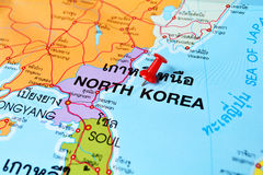 North korea map. Macro shot of north korea map with push pin royalty free stock photo