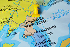 North korea map. Macro shot of north korea map with push pin stock images